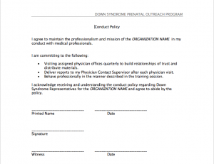 Image of conduct policy form.