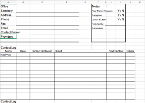Image of spreadsheet for contact log.