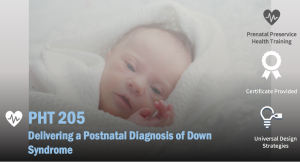 Image of PHT 205 course with a baby with Down syndrome